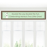 Mommy Silhouette It's Twin Babies - Personalized Baby Shower Banner