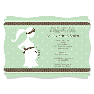 Mommy Silhouette It's Twin Babies - Baby Shower Invitations With Squiggle Shape Baby Shower Party Supplies