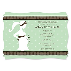 Mommy Silhouette It's Twin Babies - Personalized Baby Shower Invitations