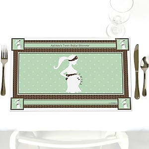 Mommy Silhouette It's Twin Babies - Personalized Baby Shower Placemats