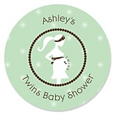 Mommy Silhouette It's Twin Babies - Personalized Baby Shower Round Sticker Labels - 24 Count