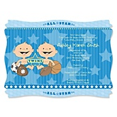 Twin All Stars - Personalized Baby Shower Invitations