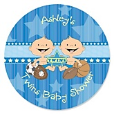 Twin All Stars - Personalized Baby Shower Round Sticker Labels - 24 Count