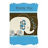 Twin Blue Baby Elephants - Personalized Baby Shower Thank You Cards