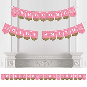 Pink Twinkle Twinkle Little Star - Personalized Baby Shower Bunting Banner