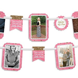 Pink Twinkle Twinkle Little Star - Baby Shower Photo Bunting Banner