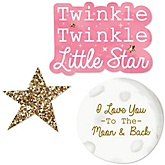 Pink Twinkle Twinkle Little Star - Shaped Baby Shower Paper Cut-Outs - 24 ct