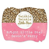 Pink Twinkle Twinkle Little Star - Personalized Baby Shower Squiggle Sticker Labels - 16 Count