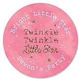 Pink Twinkle Twinkle Little Star - Personalized Baby Shower Round Sticker Labels - 24 Count