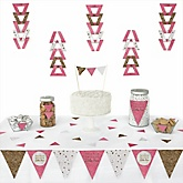 Pink Twinkle Twinkle Little Star - Baby Shower Triangle Decoration Kits - 72 Count