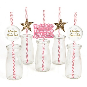 Pink Twinkle Twinkle Little Star - Paper Straw Decor - Baby Shower or Birthday Party Striped Decorative Straws - Set of 24