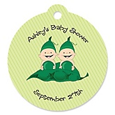 Twins Two Peas in a Pod Caucasian - Personalized Baby Shower Round Tags - 20 Count