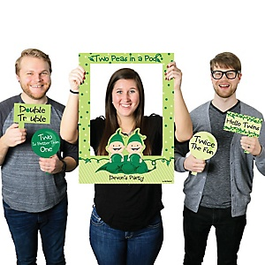 Twins Two Peas in a Pod Caucasian - Personalized Birthday Party or Baby Shower Photo Booth Picture Frame & Props - Printed on Sturdy Material