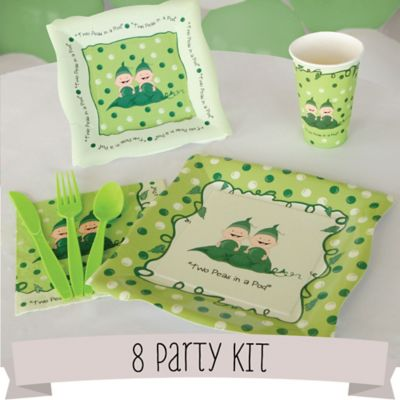 twins two peas in a pod 8 person baby shower party kit