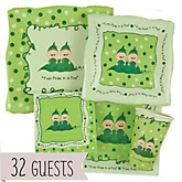 Twins Two Peas in a Pod Caucasian - Baby Shower Tableware Bundle for 32 Guests