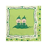 Twins Two Peas in a Pod Caucasian - Baby Shower Beverage Napkins - 16 Pack