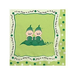 Twins Two Peas in a Pod - Baby Shower Beverage Napkins - 16 ct