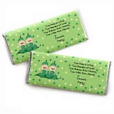 Twins Two Peas in a Pod Caucasian - Personalized Baby Shower Candy Bar Wrapper