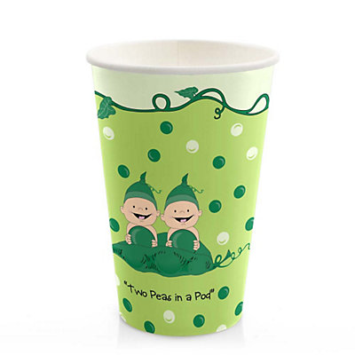 twins two peas in a pod baby shower hot cold cups 8 ct