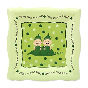 Twins Two Peas in a Pod - Baby Shower Dessert Plates - 8 ct