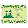 Twins Two Peas in a Pod Caucasian - Personalized Baby Shower Invitations