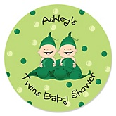 Twins Two Peas in a Pod Caucasian - Personalized Baby Shower Round Sticker Labels - 24 Count