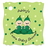 Twins Two Peas in a Pod Caucasian - Personalized Baby Shower Tags - 20 Count
