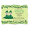 Twins Two Peas in a Pod Caucasian - Personalized Birthday Party Invitations