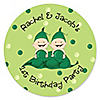 Twins Two Peas in a Pod Caucasian - Personalized Birthday Party Sticker Labels - 24 ct