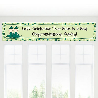 Two Peas in a Pod Baby Shower Banner