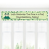 Twin Two Peas in a Pod Caucasian - Personalized Baby Shower Banner