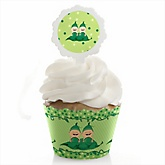 Twins Two Peas in a Pod Caucasian - Baby Shower Cupcake Wrapper & Pick Party Kit - 24 Count