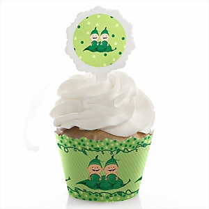 Twins Two Peas in a Pod - Cupcake Wrapper & Pick Party Kit - Set of 24
