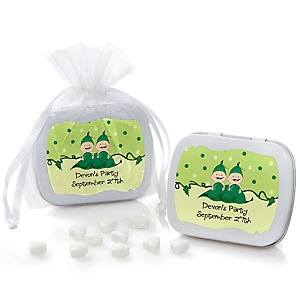 Twins Two Peas in a Pod - Personalized Girl Baby Shower or Birthday Party Mint Tin Favors