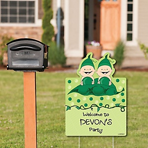 Twins Two Peas in a Pod Caucasian - Party Decorations - Birthday Party or Baby Shower Personalized Welcome Yard Sign
