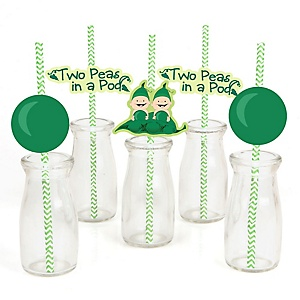 Twins Two Peas in a Pod - Paper Straw Decor - Baby Shower or Birthday Party Striped Decorative Straws - Set of 24