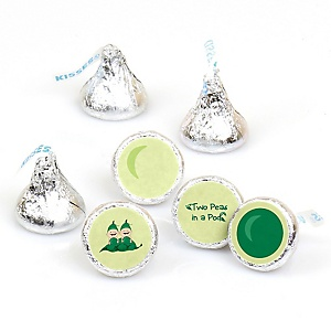 Twins Two Peas in a Pod - Round Candy Labels Party Favors - Fits Hershey's Kisses - 108 ct