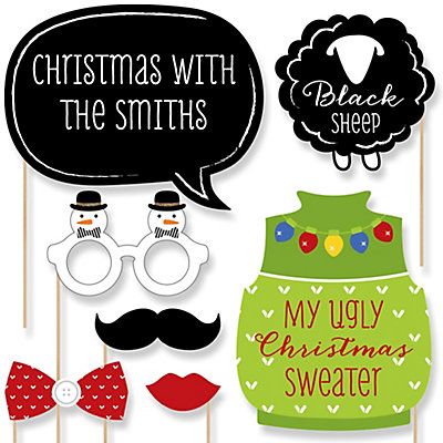 Funny Family Ugly Christmas Sweater Party - 20 Piece Photo Booth Props Kit