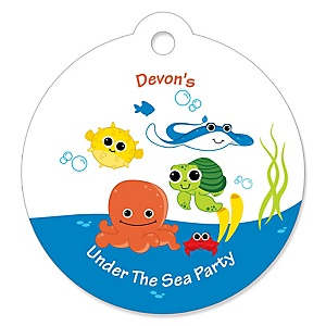 Under The Sea Critters - Personalized Baby Shower Round Tags - 20 Count