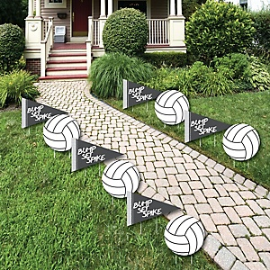 Bump, Set, Spike - Volleyball - Lawn Decorations - Outdoor Baby Shower or Birthday Party Yard Decorations - 10 Piece
