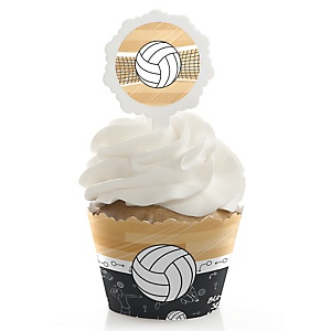 Bump, Set, Spike - Volleyball - Baby Shower Cupcake Wrapper & Pick Party Kit - 24 Count