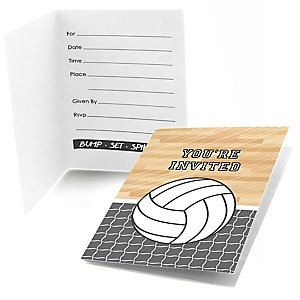 Bump, Set, Spike - Volleyball - Fill In Baby Shower Invitations - Set of  8