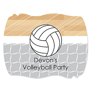 Bump, Set, Spike - Volleyball - Personalized Baby Shower Squiggle Sticker Labels - 16 Count