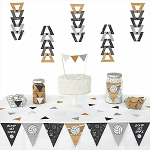 Bump, Set, Spike - Volleyball - Baby Shower Triangle Decoration Kits - 72 Count