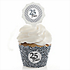 25th Anniversary - Wedding Anniversary Cupcake Wrapper & Pick Party Kit - Set of 24