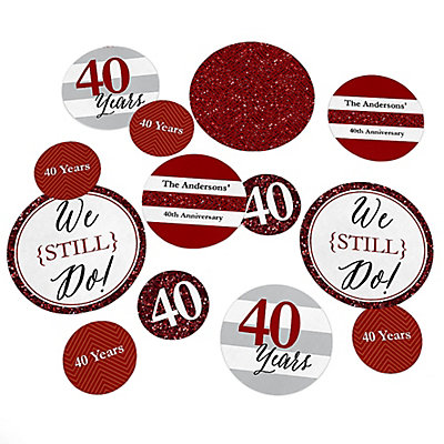 We Still Do - 40th Wedding Anniversary - Personalized Wedding Anniversary Table Confetti - 27 ct