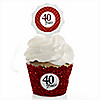 40th Anniversary - Wedding Anniversary Cupcake Wrapper & Pick Party Kit - Set of 24