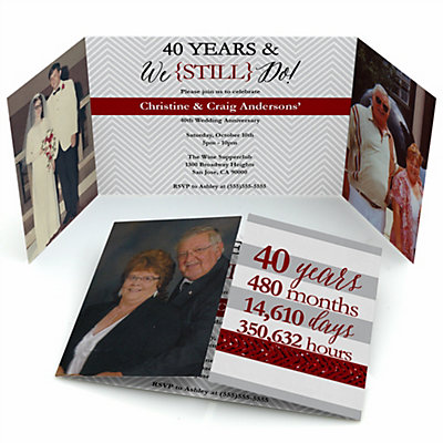 We Still Do - 40th Wedding Anniversary - Personalized Wedding Anniversary Photo Invitations