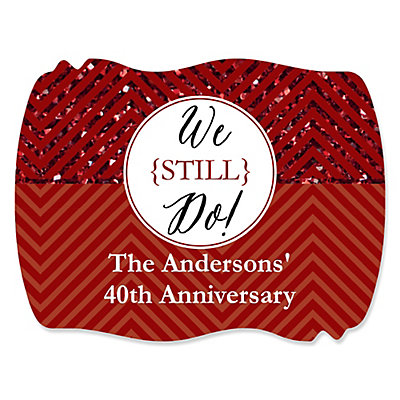 We Still Do - 40th Wedding Anniversary - Personalized Wedding Anniversary Squiggle Sticker Labels - 16 ct