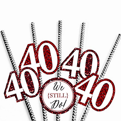 We Still Do - 40th Wedding Anniversary Straw Decor with Chevron Paper Straws - Set of 24